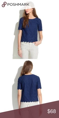 Madewell Navy Lacebloom Top So pretty! Cut like your favorite tee and covered in soft lace. Very versatile! So perfect with shorts, jeans, skirts. Wear to office or out. Size xs. Cover pic madewell. No trades! Tops Tees - Short Sleeve