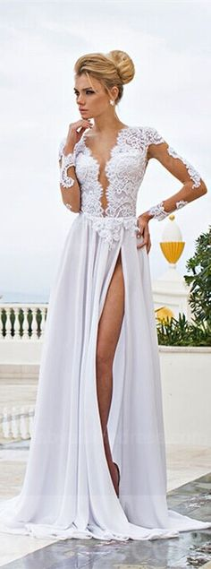 White Lace Sexy Wedding Dresses V-Neck Side Slit Long Sleeve Bridal Gowns Sexy Wedding Dresses, Elegant Dresses, Pretty Dresses, Beautiful Dresses, Prom Dresses, Formal Dresses, Dress Prom, Dress Lace, Backless Wedding
