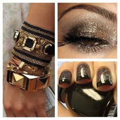 Ignore the bracelets, but like the dark twinkliness of the champagne and black mani and eyes