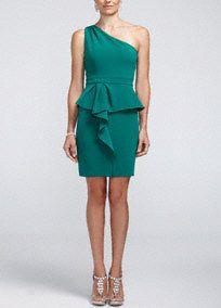 One Shoulder Knit Peplum Dress