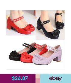 e758733cdbae Heels Womens Vintage Bowknot Ankle Strap Chunky Mid Heels Casual Ladies  Lolita Shoes  ebay  Fashion