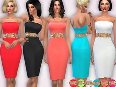 Gold Embellished Waist Bodycon Dress by Harmonia at TSR via Sims 4 Updates