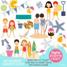 Seaside Clipart, Children Clipart, Kids Clipart, Summer clipart, Beach  clipart, Clipart, Handrawn Clipart, Pool Party clipart, by DigitalPaperCraft on Etsy