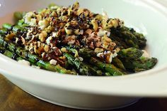 Roasted Asparagus with Balsamic, Goat Cheese & Toasted Walnuts
