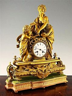 A late 19th century French gilt mantel clock 17 3/4''