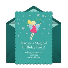 A great free birthday party invitation featuring a fairy tale design. We love this for inviting friends to a fairy tale themed birthday party!