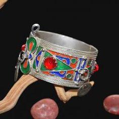 Moroccan Enameled Tribal Cuff Bracelet