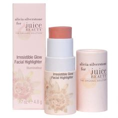 Irresistable Glow Facial Highlighter. Alicia Silverstone for Juice Beauty. For a radiant glow, apply this all-over facial highlighter to enhance and brighten skin for a naturally sexy flush of color. This lightweight formula, designed for easy application, blends organic antioxidant-rich passion fruit and hydrating essential oils for effortless beauty. #ASBeauty