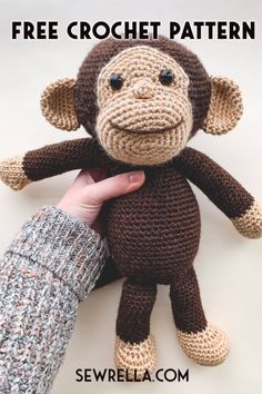 Crochet this easy happy monkey amigurumi with my video tutorial and free pattern! Making toys for kids and holiday gifts is so much fun, and this curious george inspried monkey is sure to bring smiles. For Kids easy Crochet Monkey Free Pattern Crochet Monkey Pattern, Crochet Animal Patterns, Crochet Patterns Amigurumi, Stuffed Animal Patterns, Amigurumi Tutorial, Tutorial Crochet, Free Easy Crochet Patterns, Crochet Stuffed Animals, Easy Crochet Animals