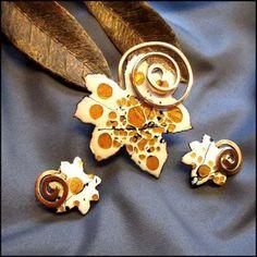 Matisse Jewelry Vintage Copper Pin w Earrings 1950s Enamel Leaves $75