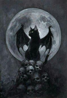 This is a black cat with dragon wings ^^ - Animals - Katzen Chat Halloween, Creepy Halloween, Halloween Artwork, Halloween Painting, Art Noir, Arte Obscura, Photo Chat, Inspiration Art, Skull Art