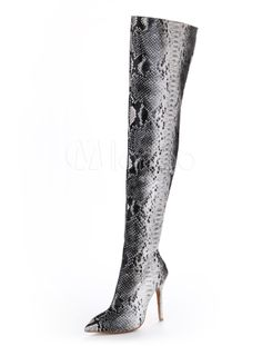 Pointed Toe Snake Print Zipper PU Leather Over the Knee Boots for Woman - Milanoo.com