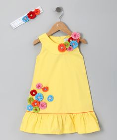 Yellow Flower Dress & Headband - Toddler & Girls by Donita - I LOVE the yo yos o.Yellow Flower Dress & Headband - I LOVE the yo yos on this dress! I am thinking that this would be fun to try to replicate for the girlie.Different types of frocks desig Little Dresses, Little Girl Dresses, Girls Dresses, Girls Frocks, Toddler Dress, Baby Dress, Toddler Girls, Girl Dress Patterns, Frock Design
