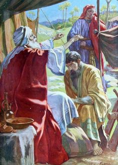 Isak velsigner Jakob. Jakob har lurt han til å tro at han er Esau