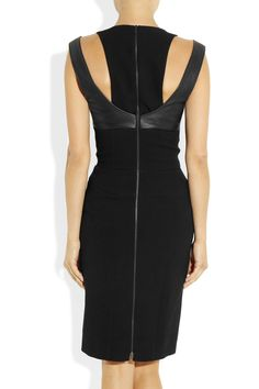 Narciso Rodriguez Leather and Crepe Dress