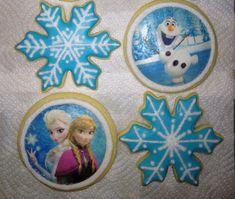 Frozen Cookies; Disney; Elsa, Olaf, Snowflakes;, Birthday Party Favors on Etsy, $28.00