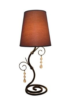 Twisted Vine Table Lamp with Brown Shade.  This fashionable table lamp, with its twisted vine base, brown fabric shade and hanging acrylic beads, will add style and pizazz to any room. We believe that lighting is like jewelry for your home. Our products will help to enhance your room with elegance and sophistication.