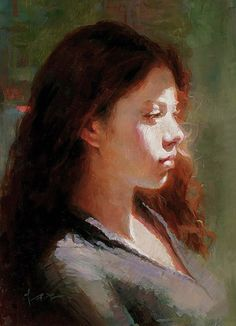 Tae Park {figurative art beautiful female redhead profile young woman face portrait painting #loveart}