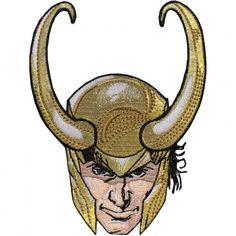 Official Marvel Comics Universe Thor Loki's Head Helmet Iron on Applique Patch