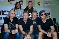 This is a really awesome photo of the band. Top left is Jari and next to him is Jani. Then on bottom from left to right is Captain, Marko, Olli, and Jaska. Poets Of The Fall, Perfect Man, In This World, The Darkest, Guys, My Love, Band, Awesome, Top