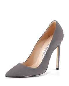 BB+Suede+115mm+Pump,+Gray+by+Manolo+Blahnik+at+Neiman+Marcus.