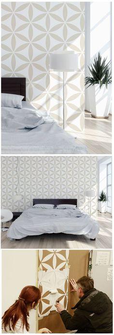 Geometrische Formen als Wandgestaltung im Schlafzimmer