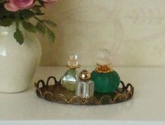 Dollhouse Miniature Perfume Bottles on Vanity Tray - 1/12th Scale