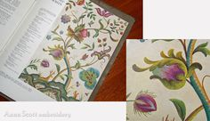 Anna Scott. Then one day, I spotted another beautiful reference of a similar colour scheme that I love. It is a beautiful piece in 'Jacobean Crewel Work' by Penelope. I love this old book (early 1900). Have a look at the Smithsonian Libraries online version here - isn't it just fabulous?