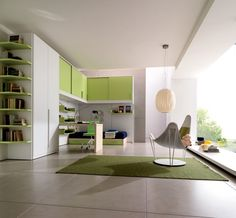 Kids Room, Captivating Green And White Color Room Furnished  With Blue Single Bed On Platform Drawers Desk And Cupboards Of Kids Room Storage Completed: Wonderful The Two Plan for Creating the Kids Room Repository