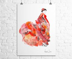 Woman Dancer Art Print  Flamenco Dance by WatercolorPrint on Etsy, $30.00