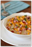 Slow Cooker White Bean Soup with Ham, Bacon and Cheddar