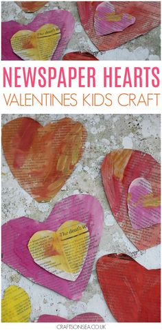 This easy newspaper heart craft for kids looks pretty but it's also a great way to teach about colour mixing and support your child's scissor skills too! A great Valentines Day craft for kids without having to buy tons of new materials. #valentinesday #valentinesdaycraft #preschool #kidscraft #kidsart