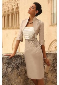 Popular Strapless Knee Length Silver Taffeta Sheath Column Mother Of The Bride Dress With Jacket B2lr0020
