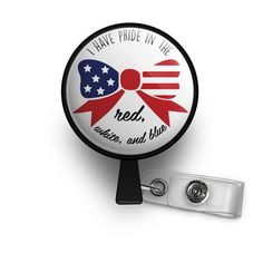 Pride In The Red White And Blue Retractable ID Badge Reel