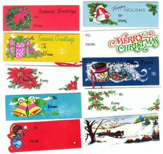 Vintage gift tags - remember some of these from my childhood Christmas Past, Christmas Gift Tags, Retro Christmas, Vintage Christmas Cards, Vintage Holiday, Coastal Christmas, Christmas Stickers, Christmas Things, Cozy Christmas