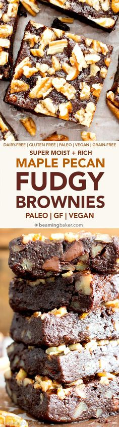 Super Fudgy Paleo Maple Pecan Brownies supremely fudgy chocolate brownies topped with delightfully sweet maple pecans.