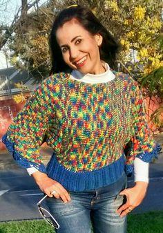 Blusa feita em croché tunisiano, tricô e croché.