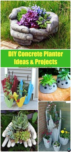 DIY Concrete Planter Ideas Projects [Instructions] via @diyhowto