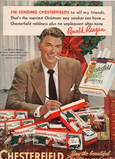 Vintage Christmas Ad for Chesterfield Cigarettes. With actor, Ronald Reagan. later to be President of the United States. Weird Vintage Ads, Retro Vintage, Photo Vintage, Retro Ads, Vintage Dior, Vintage Stuff, Vintage Ladies, Vintage Advertising Posters, Old Advertisements