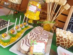 Safari Babyshower - Candy and desserts table, Cake Pops, fondant cake, sugar cookies, Candy Buffet by Sweet Tooth Candy Buffets Cake Table, Dessert Table, Bbq Cake, Diy Baby Shower Decorations, Safari Birthday Party, Summer Parties, Candy Buffet, Buffets, Baby Shower Cakes