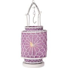 Cultural Intrigue Lilac Purple Hanging Wire And Linen Candles Lanterns ($11) ❤ liked on Polyvore featuring home, home decor, candles & candleholders, round candles, flameless tealight candles, purple tealight candles, flameless tea candles and purple tea lights