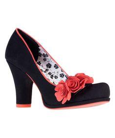Ruby Shoo Black & Coral Eva Pump | zulily
