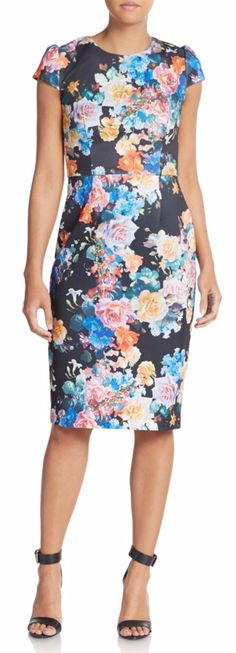 Betsey Johnson Floral Sheath Dress in Black at Saks Off Fifth