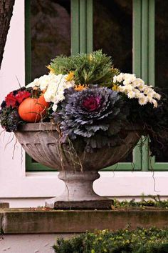 CONFIDENTIAL Fall Front Porch Not to disappoint, I m adding a couple of pictures of really pretty fall planters!Not to disappoint, I m adding a couple of pictures of really pretty fall planters! Container Gardening Vegetables, Container Plants, Container Flowers, Vegetable Gardening, Autumn Inspiration, Garden Inspiration, Fall Containers, Succulent Containers, Fall Planters