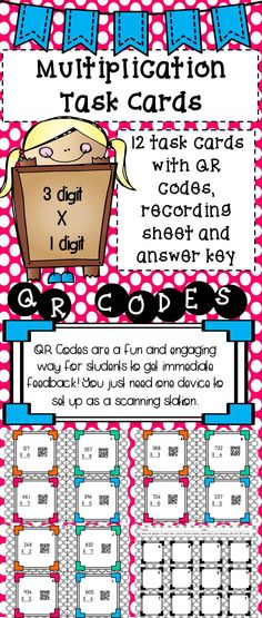 Are your students working on multiplication? This set of task cards will help your students become more fluent in multiplication. Students will love scanning the QR codes to check their answers and you'll love the immediate feedback they get. Fun Math, Math Games, 5th Grade Math, Fourth Grade, Third Grade, Upper Elementary, Elementary Math, Teachers Corner, Addition And Subtraction