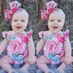 5.99AUD - Toddler Baby Girls Floral Romper Bodysuit Jumpsuit Headband Outfits Sunsuit Set #ebay #Home & Garden