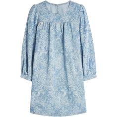 Marc Jacobs Printed Denim Dress (8.016.360 IDR) ❤ liked on Polyvore featuring dresses, blue, denim babydoll dress, marc jacobs, ballerina dress, ballet dress and baby doll dress