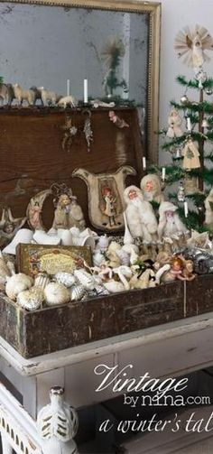 Love this idea! Love this idea! Antique Christmas Ornaments, Old Christmas, Victorian Christmas, Vintage Ornaments, Primitive Christmas, Christmas Holidays, Christmas Crafts, Christmas Decorations, Xmas