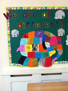 Stories and Tales, Elmer, Different, We are all Different, Colours, Display, Classroom Display, Early Years (EYFS), KS1 & KS2 Primary Teaching Resources