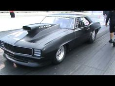 Danny Shemwell\'s 69 Camaro pro street car has nitrous backfire on launch at a NMCA event